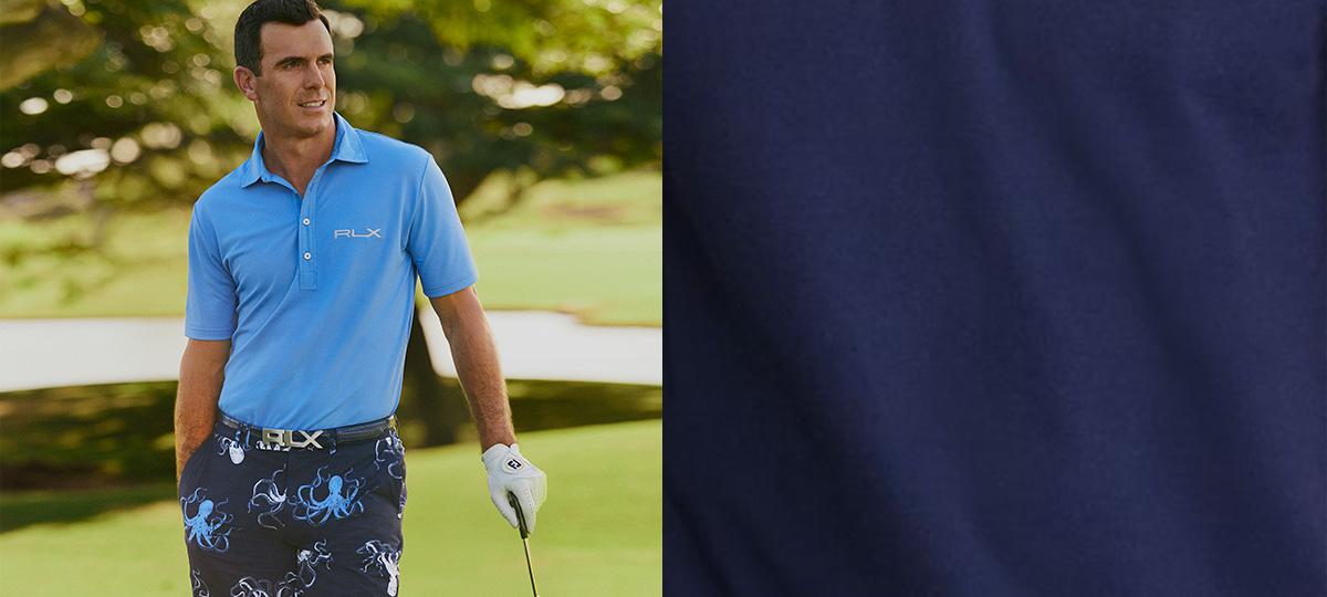 Billy Horschel in blue RLX Polo shirt & octopus-print shorts