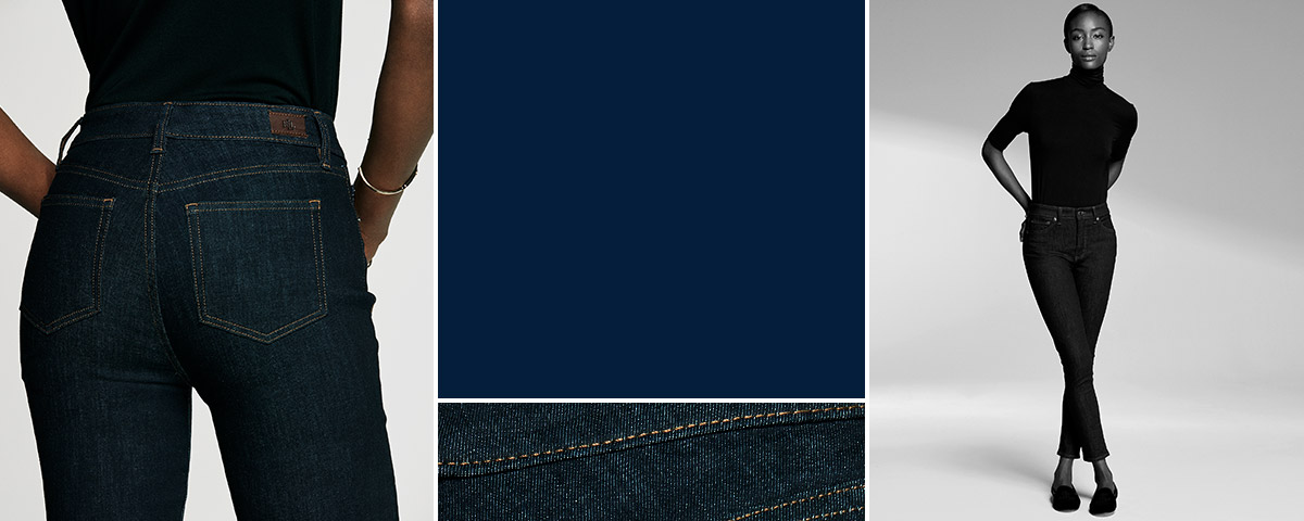 Woman in dark-wash jeans & black turtleneck