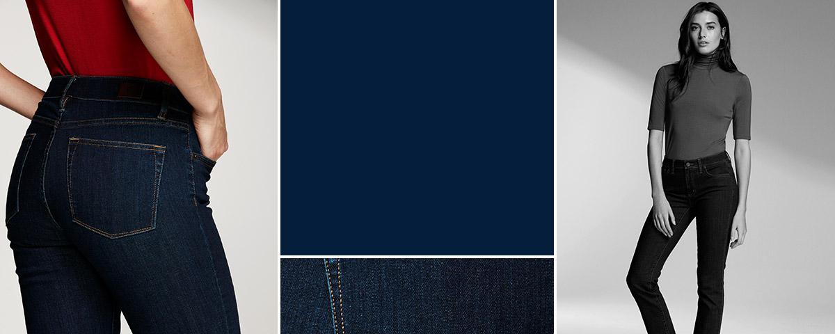 Woman in short-sleeve mockneck & jeans