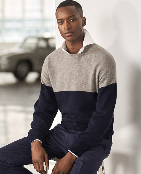 Color-Blocked Cashmere Sweater