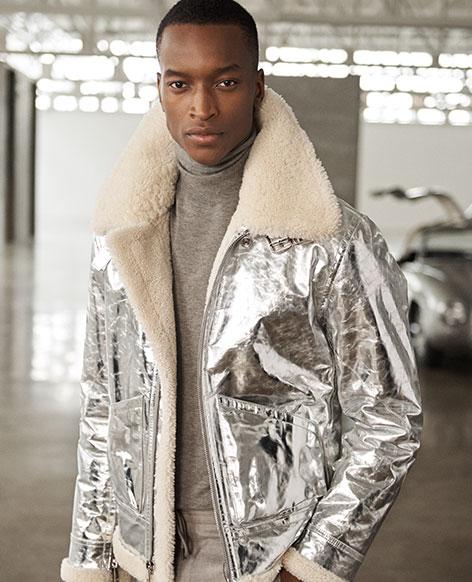 Foil Leather-Shearling Jacket