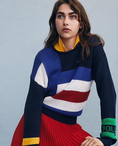 Sailboat-Flag Cotton Sweater