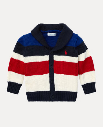 Red, white, and blue striped shawl-collar cardigan.