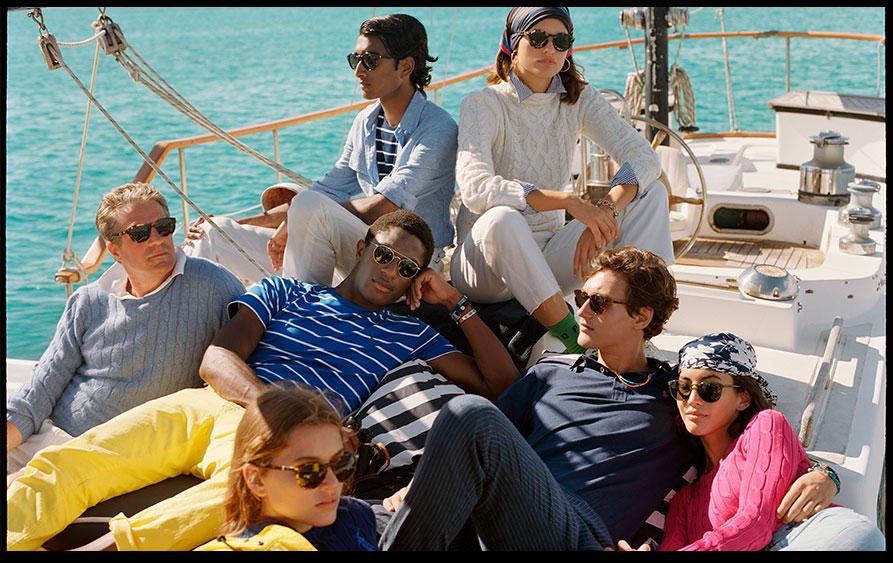 Men & women relaxing on yacht in Polo beach styles