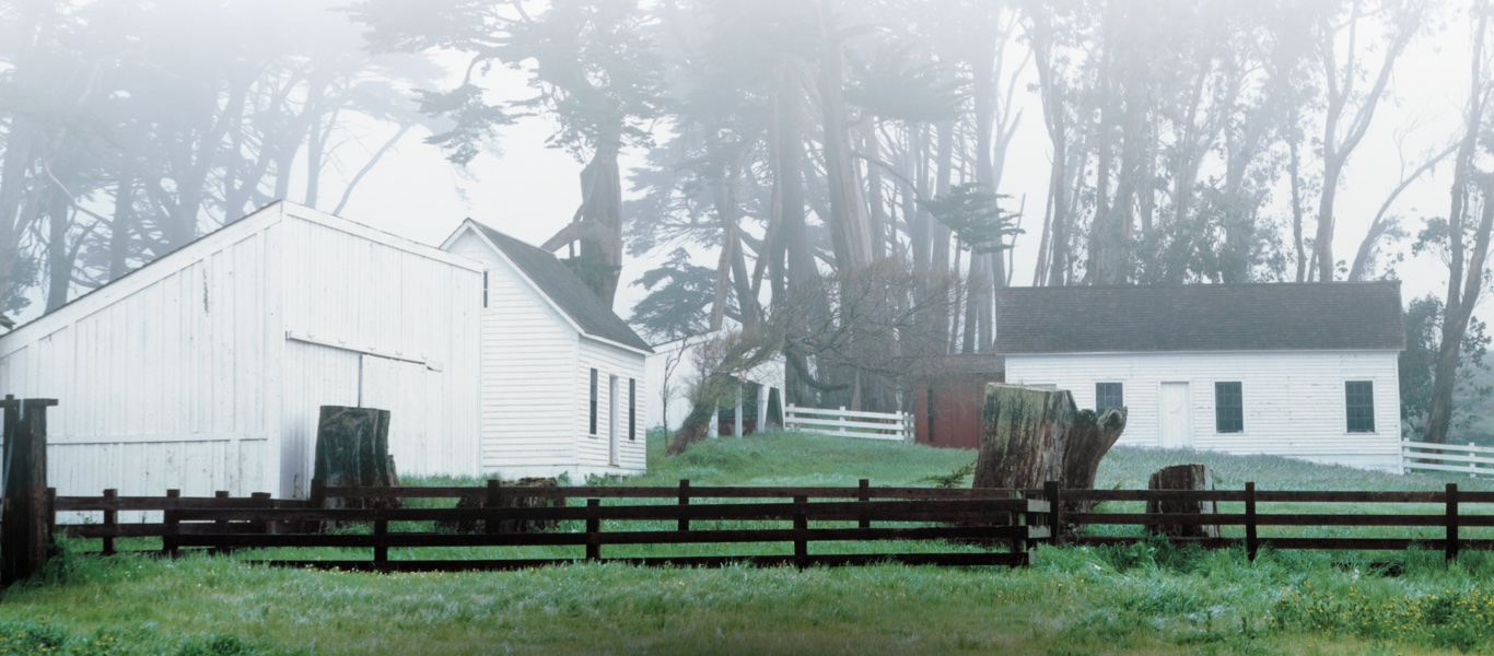 Photograph of white barn shrouded in mist