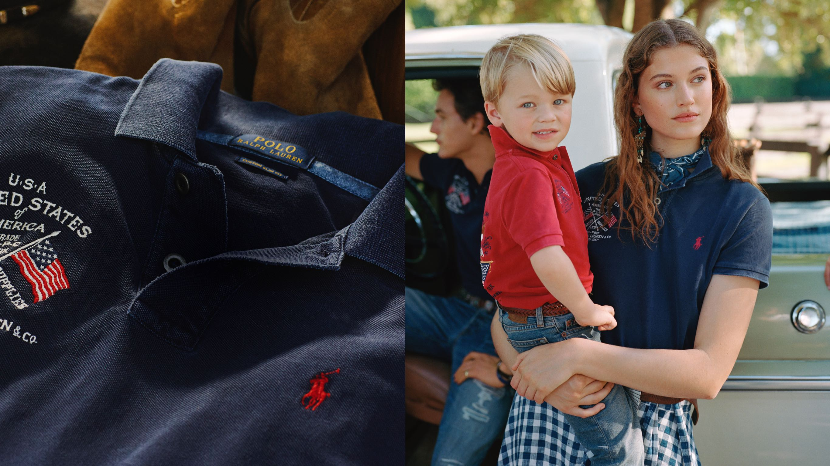 Navy Polo shirt with Americana embroidery; Woman in navy Polo carrying boy in red Polo