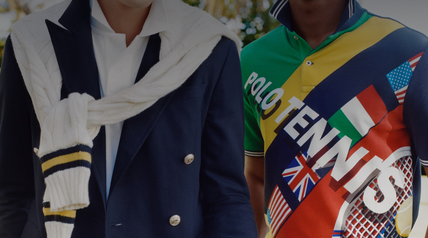 Polo shirt with tennis and international flag motifs