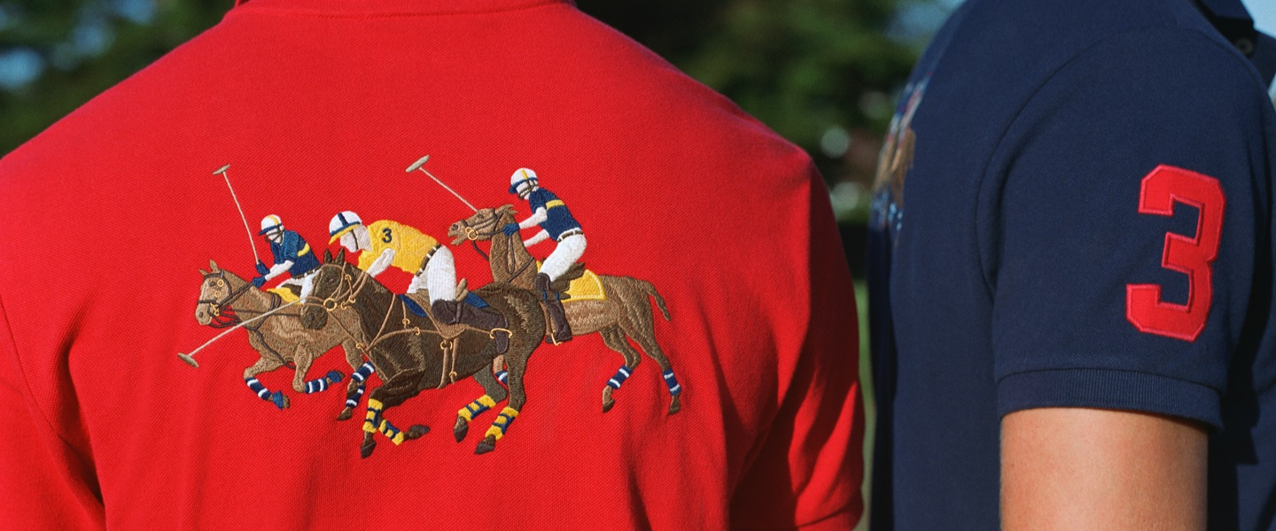 Red & navy Polo shirts with polo match-inspired patches & embroidery