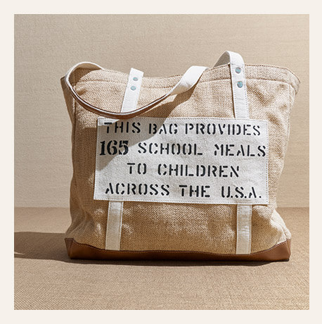 Burlap tote bag with linen pocket & Polo & Feed logos at front