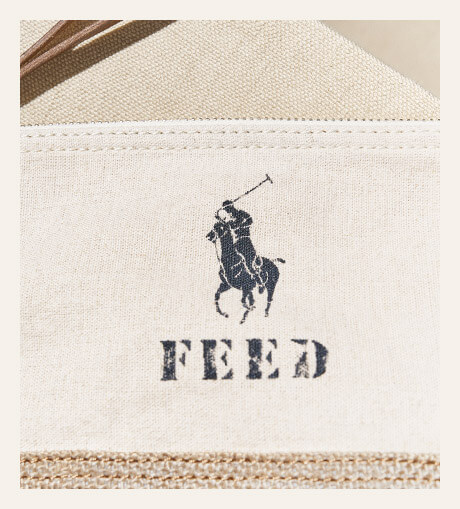 Linen pouch with burlap base & Polo & Feed logos at front