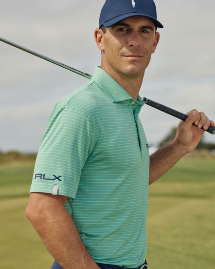 Ma in RLX golf Polo shirt with thin stripes