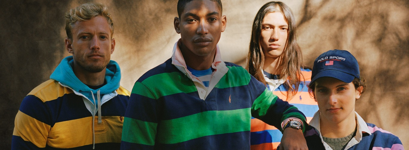 Men in striped rugby shirts in various colors