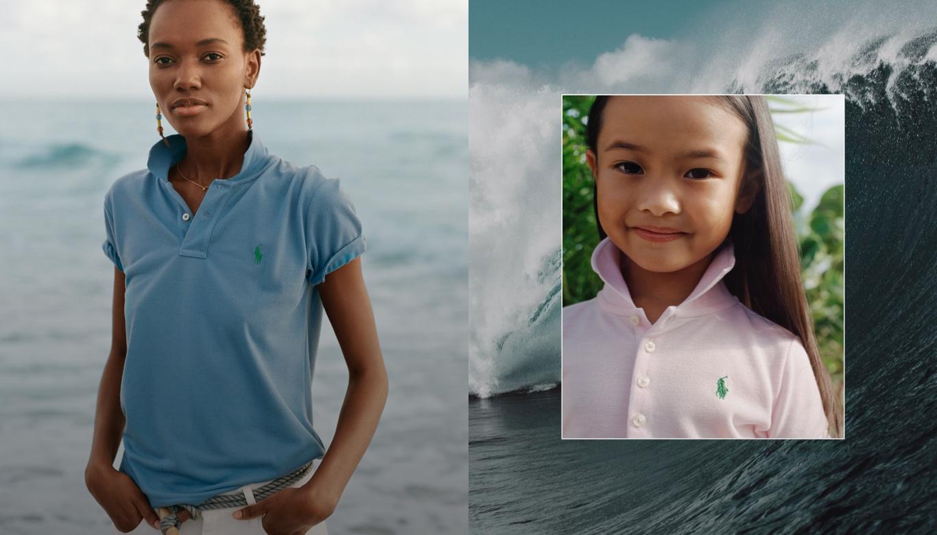 Woman wears blue Earth Polo; girl wears light pink Earth Polo shirt.