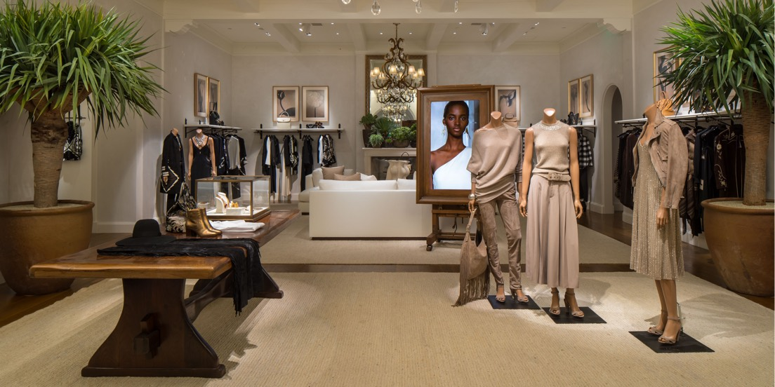 Women's clothing display inside Beverly Hills flagship