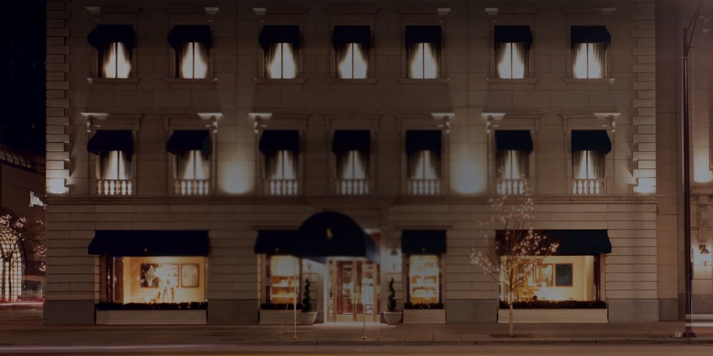 Façade of Chicago flagship store at night