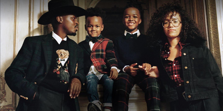 The Manzi family in plaid & festive Polo apparel