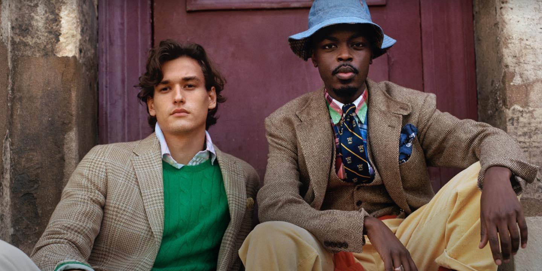 Men sitting outside in plaid & herringbone Polo sport coats