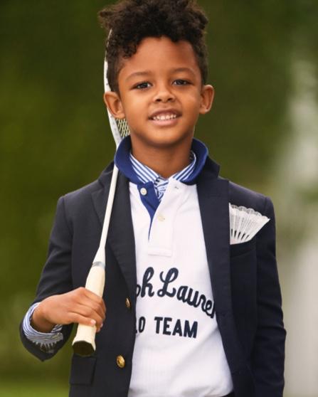 Boy in navy blazer & Polo shirt