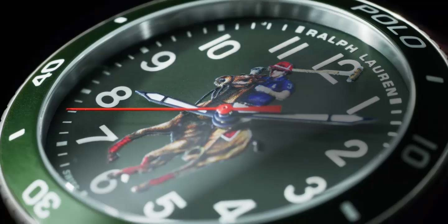 Close-up of Polo Watch with green dial & polo player motif