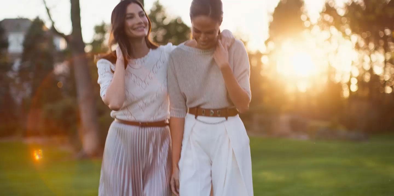 Video of models wearing Lauren Ralph Lauren outfits.