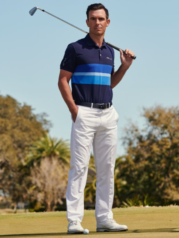 Billy Horschel in white pants & blue striped Polo shirt