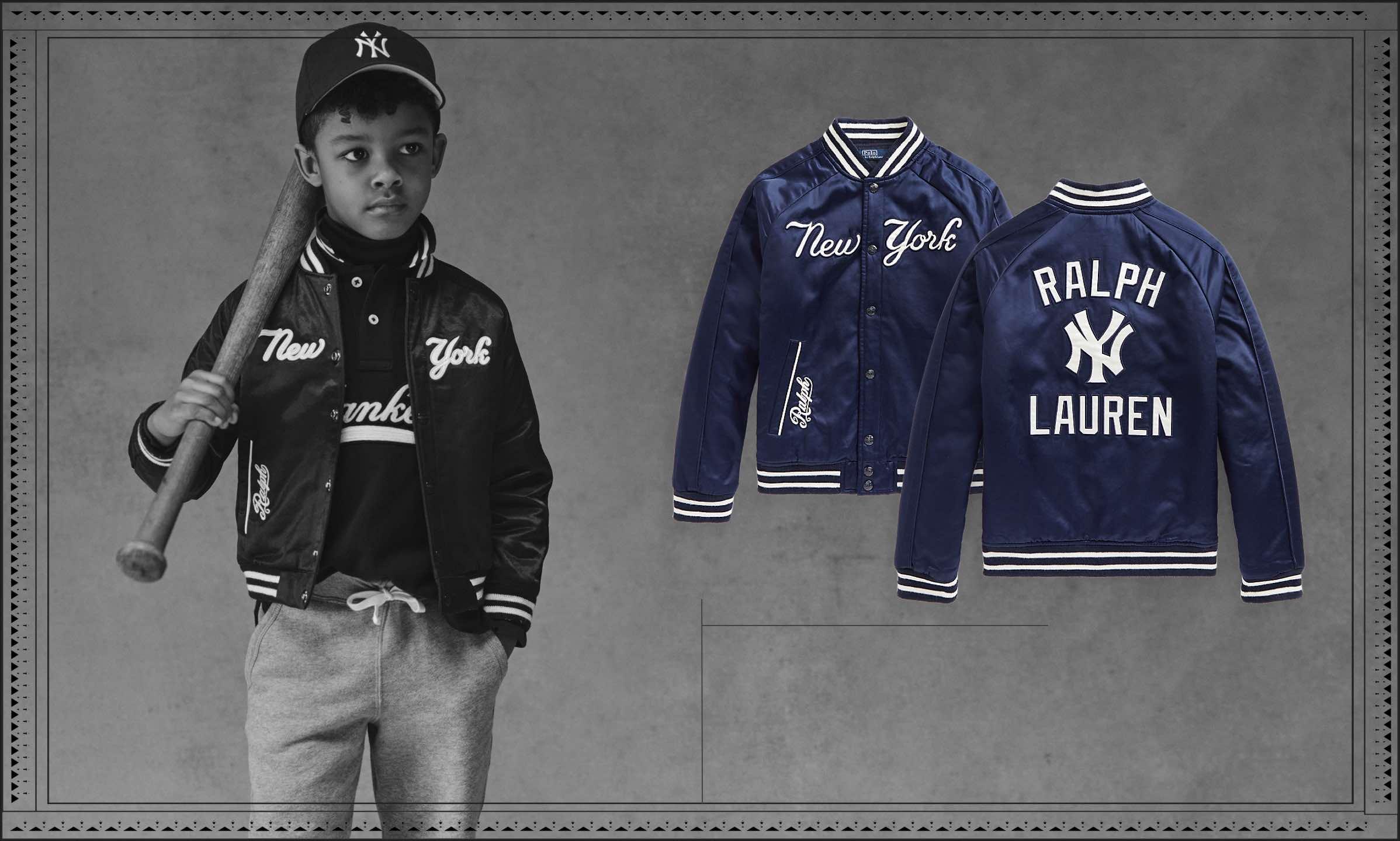 Greyscale photo of boy wearing the Polo Ralph Lauren Yankees™ Jacket