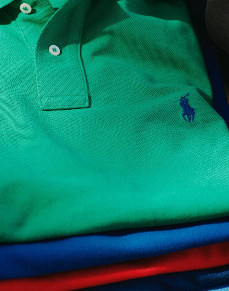 Stack of colorful Polo shirts
