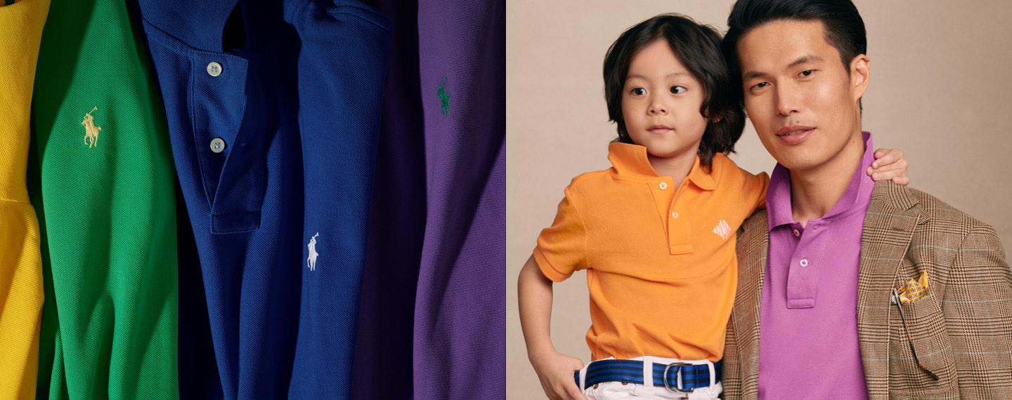 Colorful Polo shirts & father carrying son, both in Polo shirts