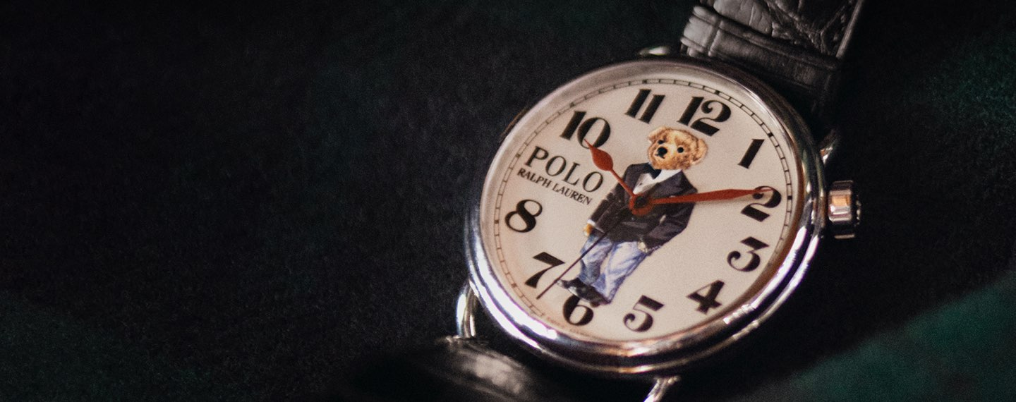 Watch with Polo Bear motif at face & black alligator strap