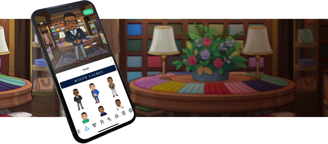 Bitmoji in navy blazer rendered on smartphone screen