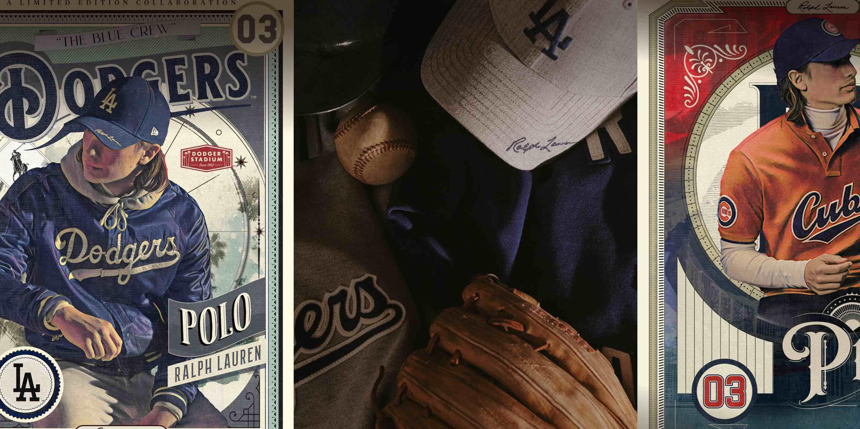 Illustrations of Ralph Lauren baseball trading cards & gloves & hats
