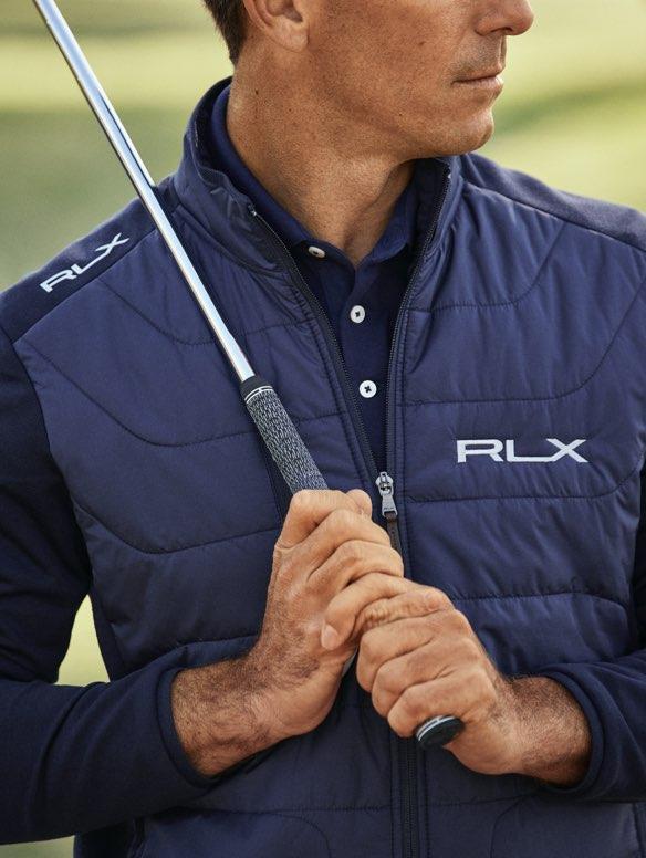 Golfer in RLX navy vest