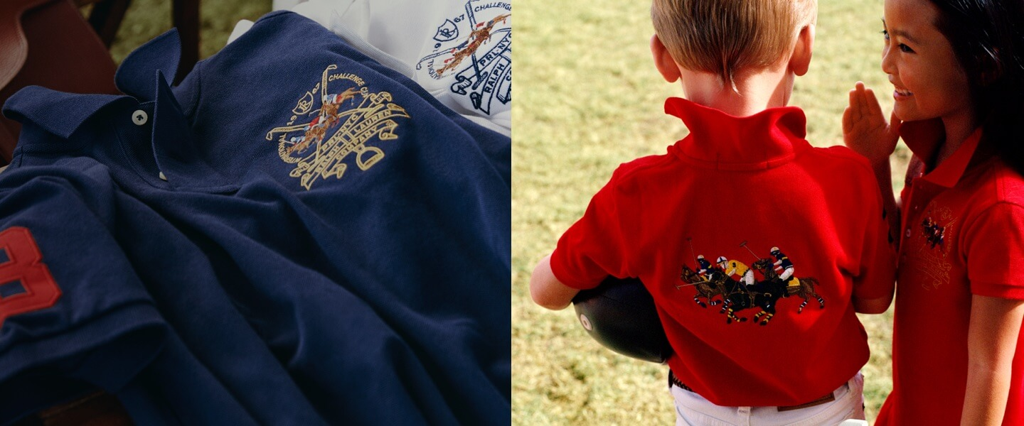 Polo shirt with equestrian graphic; kids in red equestrian-inspired Polos.