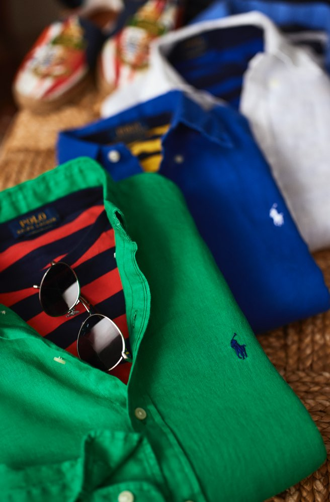 Green, blue & white linen shirts layered with striped T-shirts