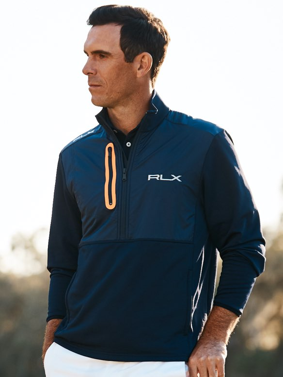 Billy Horschel in paneled blue quarter-zip pullover