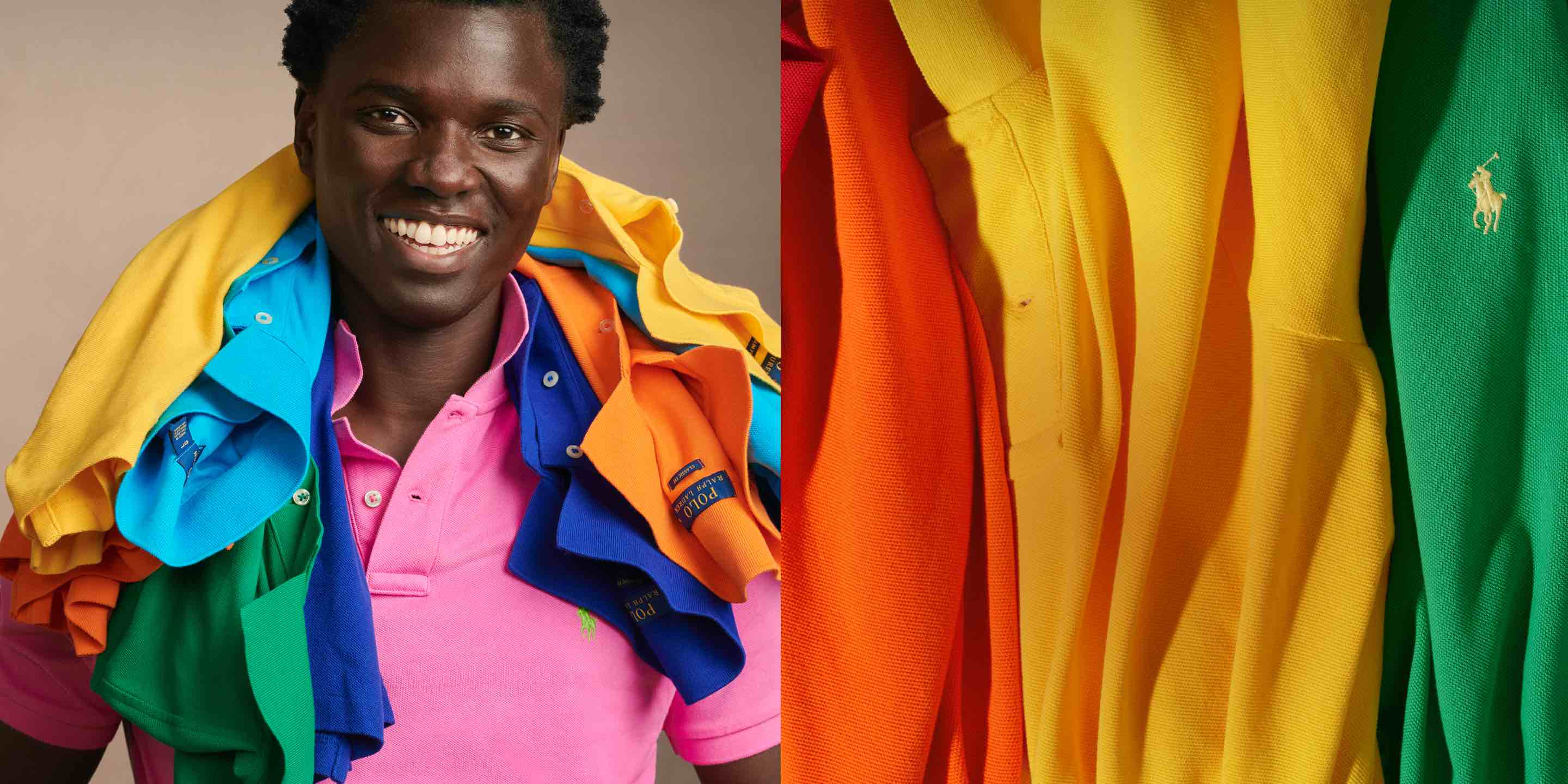 Man wears pink Polo shirt; Polo shirts in a rainbow of hues.