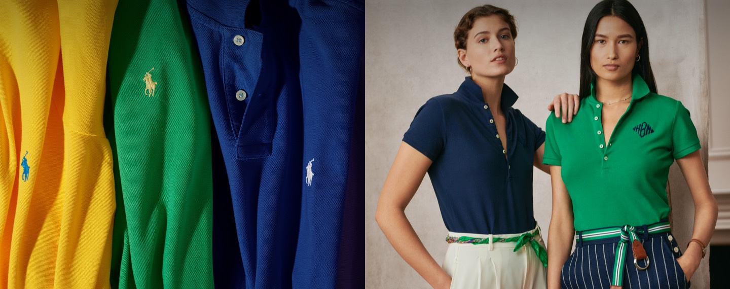 Colorful Polo shirts & two women in polo shirts