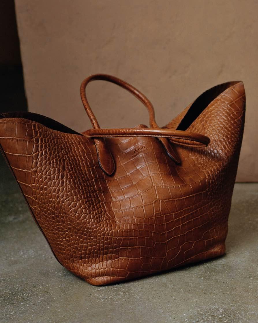 Brown croc-embossed leather Bellport tote
