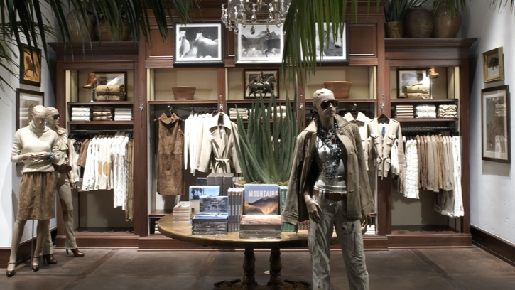 Photograph of the interior of the Ralph Lauren store in Palm Desert