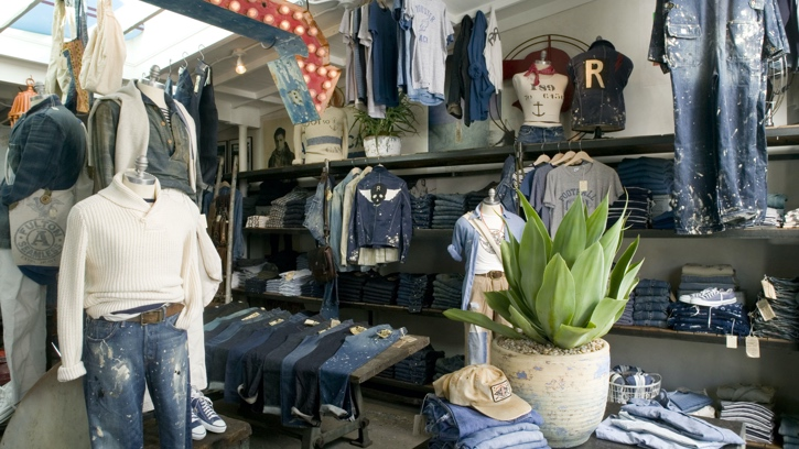 Photograph of the interior of the Double RL store in Malibu