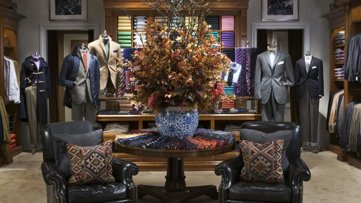 Photograph of the interior of the Ralph Lauren store in McLean