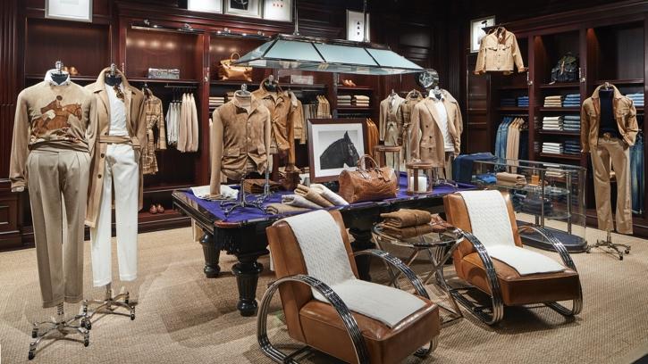 Photograph of the interior of Ralph Lauren Men's Flagship