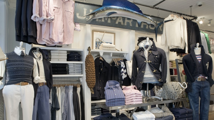Photograph of the interior of the Polo Ralph Lauren store in New Canaan
